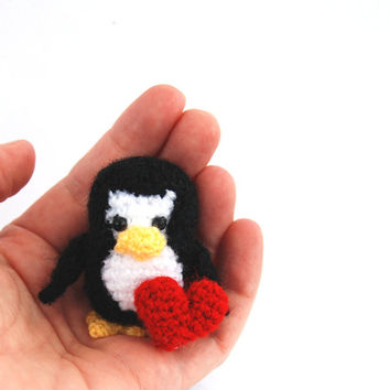 miniature penguin, little stuffed penguin, small aquatic bird with red heart, love einguin, amigurumi penguin crochet tiny penguin cute gift