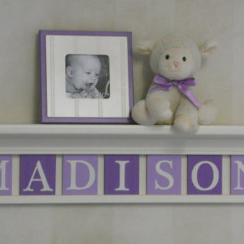 "Purple Baby Girl Nursery Decor 30"" Linen (Off White) Shelf - 7 Wood Letter Plaques in Light Purple / Lilac Name Signs Personalized - MADISON"