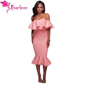 Dear Lover Off Shoulder Party Dresses Summer Clothes 2017 Sexy Elegant Pink Ruffle Mermaid Midi Dress Vestido de Festa LC61486