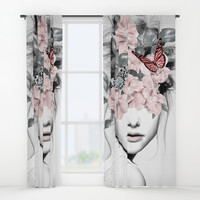 WOMAN WITH FLOWERS 10 Window Curtains by dada22