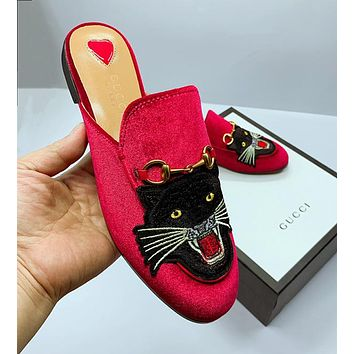 Women Fashion Embroidery Slipper Mules Shoes Flats Shoes