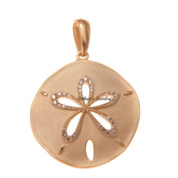 ROSE GOLD PLATED 925 STERLING SILVER HAWAIIAN SAND DOLLAR PENDANT CZ 24.50MM
