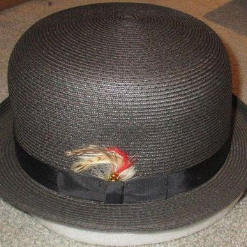 DCK4S2 NY Hat Co Black Straw Derby Made in USA XL