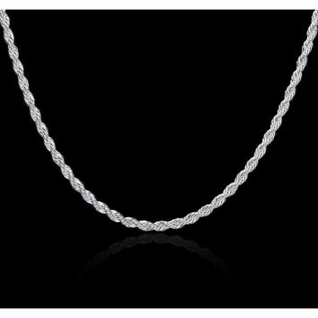 Sterling Silver Rope Chain Necklace Diamond-Cut 2mm 925 Sterling Silver Rope