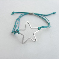 Silver star charm bracelet, sterling silver star cuff bracelet, friendship bracelet, everyday jewelry