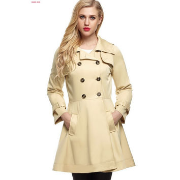 2016 New Maxi Long Trench Coat Windbreaker Women Ladies Long Sleeve Double Breasted Autumn Winter Outerwear Trenchcoat 8YC