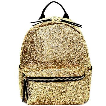 Gold Glitter Multi-Pocket Backpack