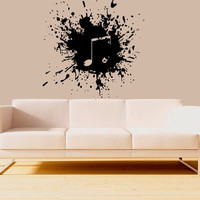 Wall Decal Vinyl Sticker Decals Art Decor Design ink paints blot explosion music note sax Juzz Mural Modern Gift Fashion Bedroom (r639)