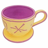 disney parks alice in wonderland mad tea party yellow tea cup saucer mug new
