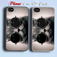Cool Cat Custom iPhone 4 or 4S Case Cover