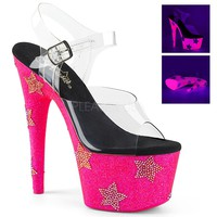 Neon Pink Ankle Strap Sandal 7 Inch Heels-Stripper Shoes