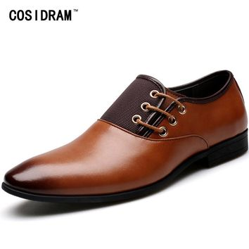 COSIDRAM Plus Size 47 Men Dress Shoes Genuine Leather Pointed Toe Men Oxfords Formal Shoes Autumn Business Wedding Shoes RMC-098