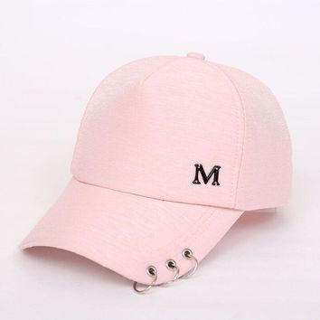 Trendy Winter Jacket Metal Letter M Lron Ring Pink Classic 8 Panel Women Baseball Cap Ladies Youth Snapback High Quality bow Pearls baby Baseball Cap AT_92_12