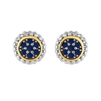 18k Gold And Sterling Silver Sapphire Stud Earrings