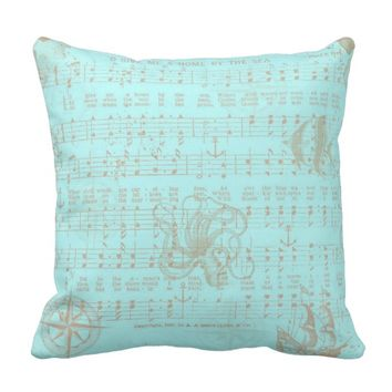 Vintage Music Sheet Beach Pillow