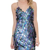 Purple Circle Sequin Mini Dress