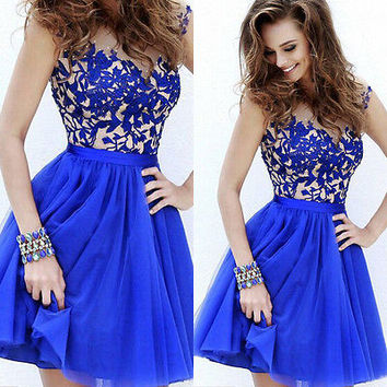 Dress Fashion Formal Lady Women Lace Prom Ball Wedding Short Brief Vintage Maxi Bridesmaid Gown Blue Sexy