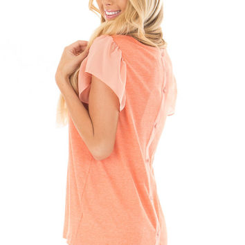 Neon Tangerine Top with Button Down Back