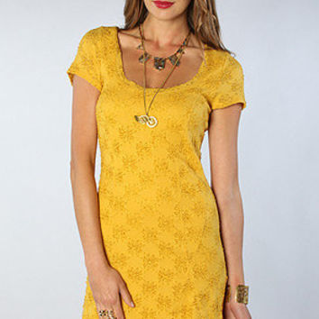 The Daisy Godet Dress in Mustard