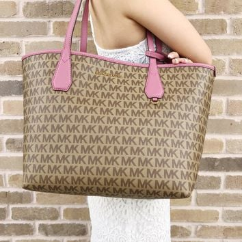 Michael Kors Candy Large Reversible Tote Brown Khaki Signature Tulip Pink Pouch