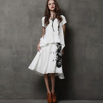 New Summer Boho Vintage Ethinc Casual Ancient Ink Print Pleated Women Long Fake Two Pieces Vestidos Cotton Linen Dresses
