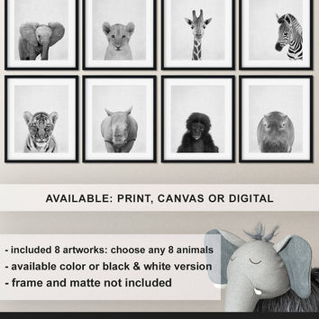 Nursery print set Safari Black and white, Safari Nursery animal wall art, Baby animal prints nursery, Jungle animals photo Print/Canvas/Digi