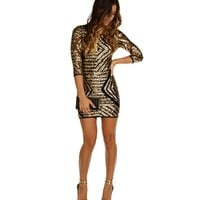Sale-gold Geometric Sequin Party Dress