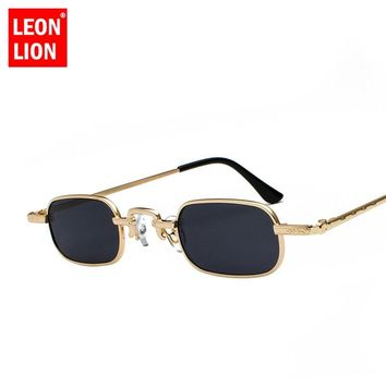 LeonLion 2018 Small Frame Sunglasses Women/Men Oval Glasses Lady  Luxury Retro Sun Glasses Vintage Mirror Oculos De Sol Feminino