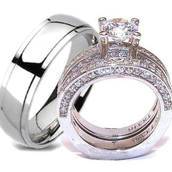 His & Hers Wedding Ring Set Stainless Steel & Titanium Wedding Ring Set