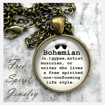 Boho Jewelry,Bohemian Definition Necklace, Necklace, Glass Dome Pendant, Art Necklace, Jewelry with Message, Inspirational jewelry