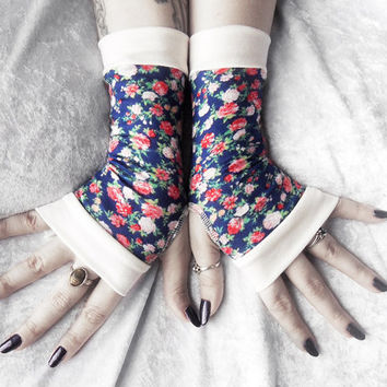 Rhosyn Bach Fingerless Gloves - Navy Royal Blue Pink Red Green White Ivory Ditsy Floral Rose Cotton - Yoga Cycling Bohemian Mori Girl Lolita