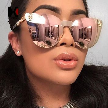 SHAUNA Cool Gothic Sunglasses Crystal Skull Steampunk Sunglasses High Quality Rhinestone Women Men Punk Retro Shades
