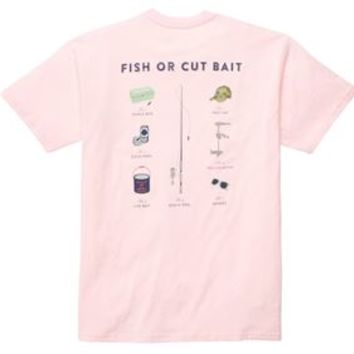 Southern Proper Mens Fish or Cut Bait T-Shirt in Pink