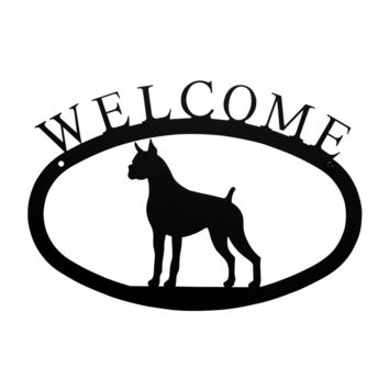 Wrought Iron Boxer Dog Welcome Home Sign Small