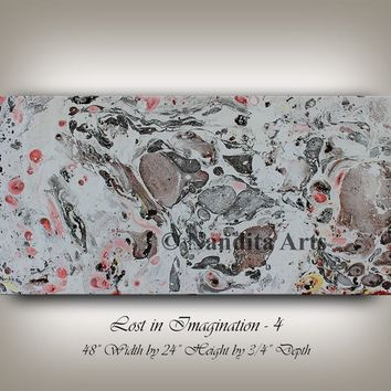 """Watercolor painting, Mixed Media, Original Artwork, Gray, Brown art, Home or Office decor Gift, by Nandita Albright """"48x24""""(121.92x60.96)"""