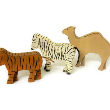 Vintage Hand Painted Wood Animals Camel Zebra Tiger Figurines Sculptures Handpainted Rustic Wooden Animals Primitive Toys Decor Decorations