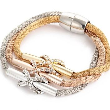 ONETOW Gold wire mesh crystal twist 8 word cross magnet buckle three - color multi - layer bracelet
