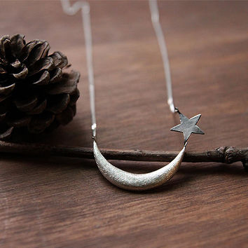 Sterling Silver Crescent Moon & Star Pendant, Moon Necklace, Crescent Moon Star Charm Necklace, Sterling Silver Moon Star Jewelry