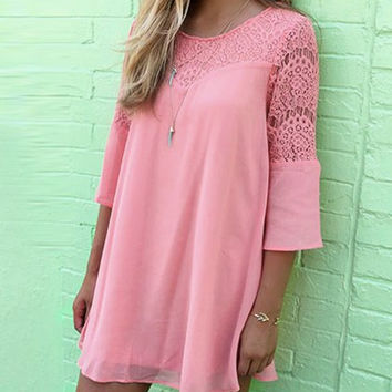 Lace Panel Mini Chiffon Dress