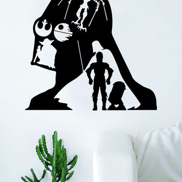 Star Wars Collage Quote Decal Sticker Wall Vinyl Decor Art Room Teen Kids Movies Darth Vader Yoda R2D2 C3P0 Jedi Dark Side