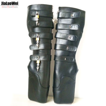 "jialuowei New Ballet Boots 18cm/7"" Super High Heel Wedge Hoof Heelless Fashion Sexy Fetish Slave 10keys Lockable Knee High Boots"