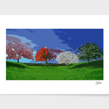 «Seasonal Trees» Art Print by Casey Bell - Exclusive Edition from $24.9 | Curioos