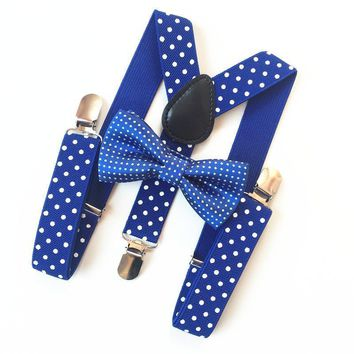 5 Colors Fashion Classic Dots Kids Suspenders Bowtie Ties Set Adjustable Elastic Straps Apparel Clothing Accessories BDTZ009