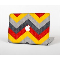 """The Scratched Yellow & Red Accented Chevron Pattern V3 Skin Set for the Apple MacBook Air 13"""""""