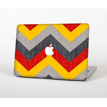 The Scratched Yellow & Red Accented Chevron Pattern V3 Skin Set for the Apple MacBook Air 13""