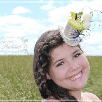 Mini Top Hat , Tiny Hat , Butterfly Mini Hat , Nature Hat , Mad Hatter Hat , Tea Party Hat , Bridal Shower Hat