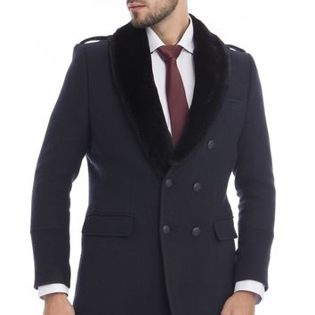 DOUBLE BREASTED BOUCLE PEA COAT WITH FAUX FUR COLLAR - NAVY