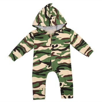 Newborn Kids Baby Boy Girl Infant Cotton Romper Jumpsuit Long Sleeve Cotton Cute Army Green Outfit Clothes