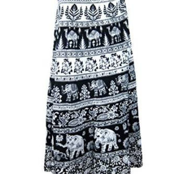 Indian Wrap Skirt Printed Cotton Gypsy Sarong Wrap Around Long Wraparound Skirts
