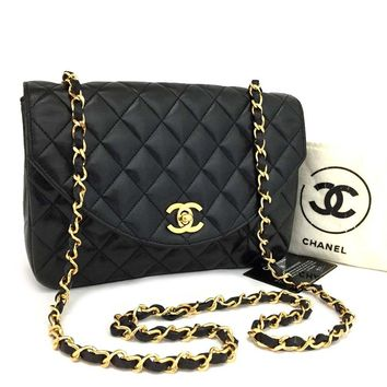 Vintage CHANEL Quilted 22 Matelasse CC Logo Lambskin Chain Shoulder Bag /kAXX x